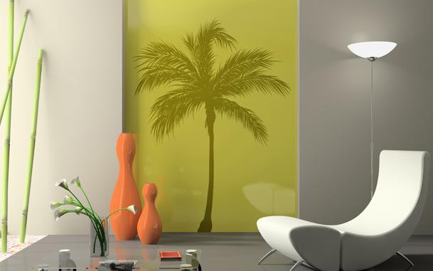 Le stickers cocotier au vent pour décorer l\'intérieur sur le thème de la nature