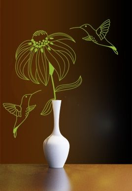 Stickers colibris en harmonie avec fleur