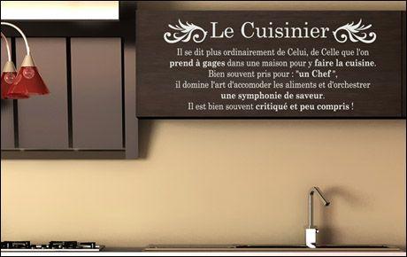 Le stickers cuisine chef pour décorer l\'intérieur