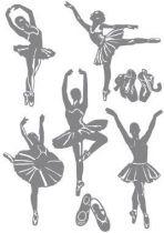 Stickers danseuse classique, 5 petites danseuses rat de l\'op�ra et leurs chaussons