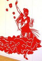 Ambiance espagnole avec ce stickers mural d\'une danseuse de flamenco