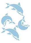 Stickers dauphins. 2 stickers dauphins découpés à la forme dans vinyle de couleur unie.