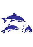 Stickers dauphins découpés à la forme dans vinyle de couleur unie. Planche de 3 stickers dauphins avec gouttes d\'eau