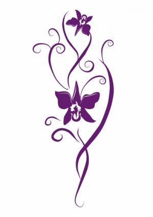 stickers déco orchidée découpée dans vinyle de couleur uni. Ce sticker orchidée peut être idéal pour décorer un vase, une porte de placard, un mur ou pourquoi pas une porte de frigo.