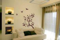 stickers décoratif Branche japonaise avec trois oiseaux découpés à la forme dans vinyle de couleur unie.