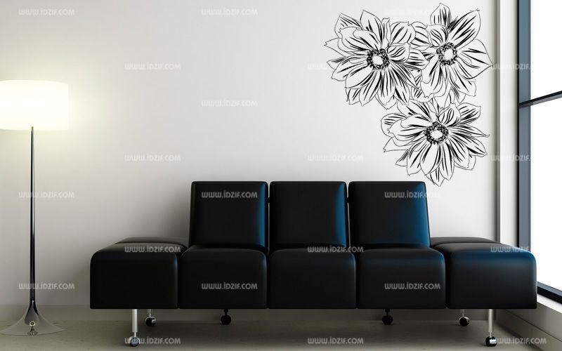 stickers muraux fleurs dessin