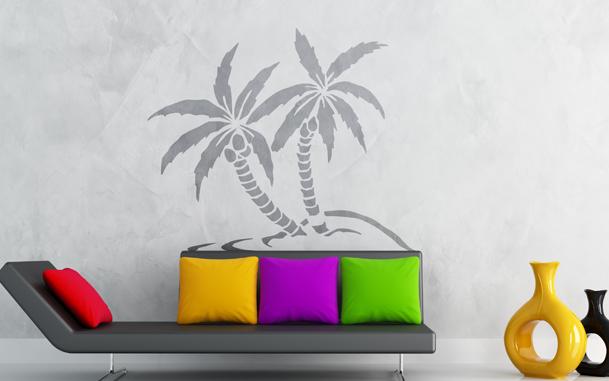 Le stickers duo de palmier pour décorer l\'intérieur sur le thème de la nature