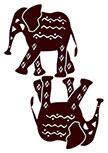 2 Stickers muraux Eléphants découpés à la forme dans vinyle de couleur unie.