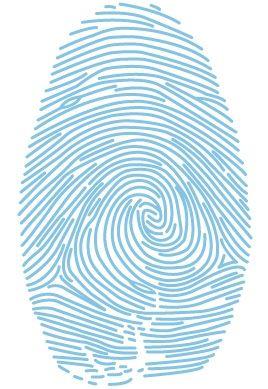 Sticker empreinte digitale découpé à la forme dans vinyle adhésif uni.