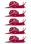 Stickers escargots. 5 Stickers escargots découpés à la forme dans vinyle de couleur unie.