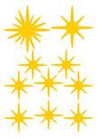 stickers etincelles découpés à la forme dans vinyle de couleur unie. Planche de 10 stickers etincelles