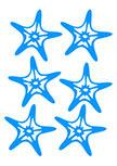 stickers étoiles de mer. 6 stickers étoiles de mer découpées à  la forme dans vinyle de couleur unie. Décoration réalisé par une de nos cliente. Les vagues et le petit mousse ont été peint à la main. Les poissons, les étoiles de mer, les tortues et le bâteau sont des stickers de notre catalogue. Bravo pour ce décor.
