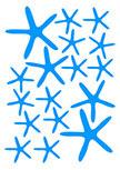 stickers étoiles de mer découpés à la forme dans vinyle de couleur unie. Planche de 17 stickers etoiles de mer.