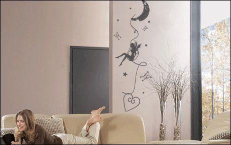 Le stickers fée lune et coeur pour décorer l\'intérieur sur le thème des fées