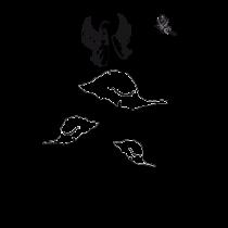 Le stickers fée papillon sur champignons en noir pour décorer l\'intérieur sur le thème des fées