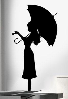 Stickers femme sous la pluie