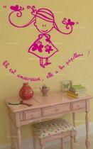stickers fillette citation amour