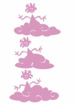 Stickers filles sur nuages