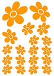 Stickers fleurs découpés à la forme dans vinyle de couleur unie. Planche de 19 stickers fleurs .