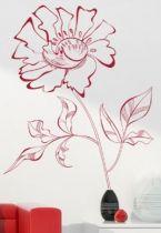 stickers muraux fleur au trait