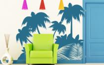 Le stickers foret palmier coin pour décorer l\'intérieur sur le thème de la nature