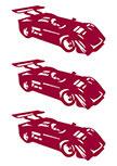 3 stickers formule 1 découpées à la forme dans vinyle de couleur unie.