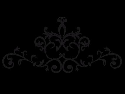 Le stickers fresque ornementale en noir. Décorez sur le thème du baroque.