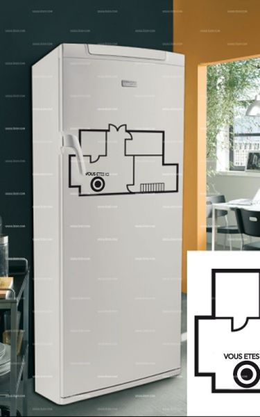 Stickers frigo : plan de maison.
