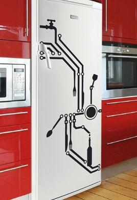 stickers frigo circuit imprim. Black Bedroom Furniture Sets. Home Design Ideas
