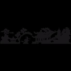 Le stickers frise d\'Asie en noir pour une décoration exotique