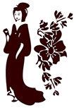 Stickers geisha découpé à la forme dans vinyle de couleur unie. Planche comprenant 1 stickers Geisha et 1 stickers Fleur