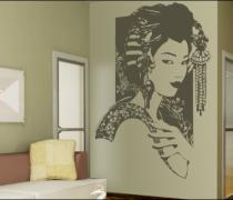 Le stickers geisha de profil pour une décoration ethnique et dépaysante