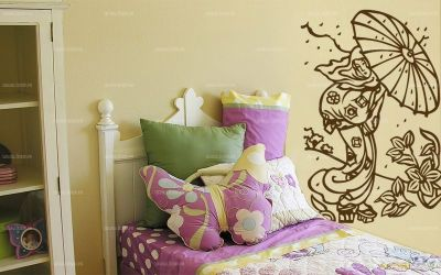 stickers geisha et son parapluie. Black Bedroom Furniture Sets. Home Design Ideas