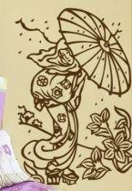 Stickers Geisha et son parapluie