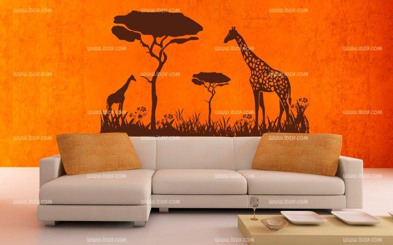 Stickers girafes savane - Chambre style africain ...