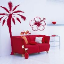 Stickers Hibiscus d�coup� � la forme dans vinyle adh�sif, id�al pour d�corer un salon ou la chambre d\'un ado.