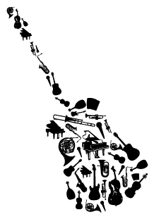 Stickers instruments dans guitare