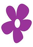 Sticker jolie fleur découpé à la forme dans vinyle de couleur unie.
