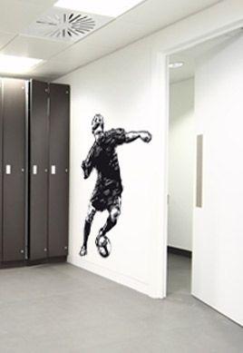 stickers joueur de foot attaque
