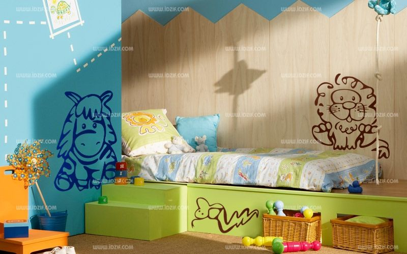 stickers lion pour chambre de b b. Black Bedroom Furniture Sets. Home Design Ideas