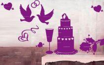 sticker mariage, tout pour la déco du heureux événement : les alliances, le gateau, les coeurs, la décoration florale. Il ne manque que les mariés
