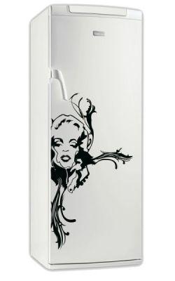 sticker frigo design femme fleur. Black Bedroom Furniture Sets. Home Design Ideas