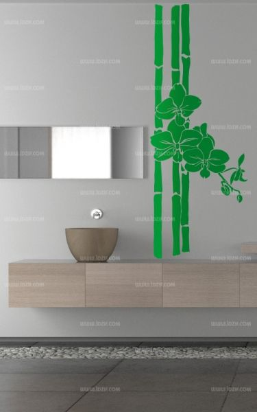 stickers fleurs sur bambou