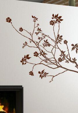 Stickers muraux Branche fleurie découpée à la forme dans vinyle de couleur unie.
