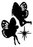 Stickers muraux féerique : stickers fées découpées à la forme dans vinyle de couleur unie : 1 Fée, 1 Fée et 1 Etoile.