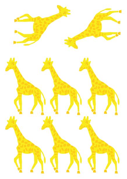 Stickers muraux enfants : Planche de 8 stickers girafe imprimés sur vinyle et découpés à la forme.