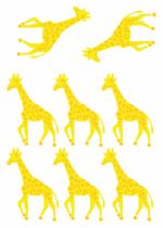 Stickers muraux enfants : Planche de 8 stickers girafe imprim�s sur vinyle et d�coup�s � la forme.
