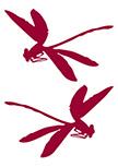 2 Stickers muraux libellules découpées à la forme dans vinyle de couleur unie.