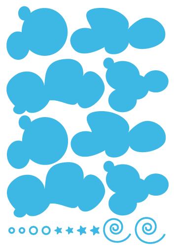 stickers muraux nuages enchantés découpés à la forme dans vinyle de couleur unie. Vu dans M6 D&CO.