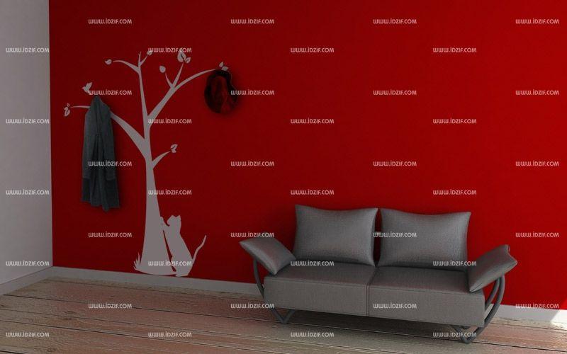 sticker mural arbre pour porte manteau. Black Bedroom Furniture Sets. Home Design Ideas